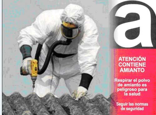 Delimitación y señalización de la zona con amianto